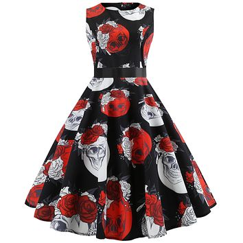 Vintage Casual Skull Flower Print Sleeveless Dress