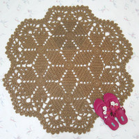 Jute Star Pattern Rug - Hippie Decor - Mandala Rug - Round Throw Rug - Area Rug - Outdoor Rug - Lace Rug - Natural Fiber Carpet