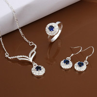 Elegant Blue Zircon Round Pendant Necklace Ring Earring 925 Silver Plated Jewelry Set Nice Gift for Girls = 1958399044