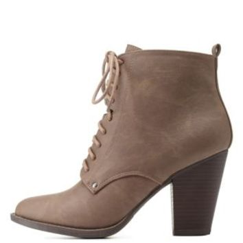 Stone Chunky Heel Lace-Up Booties by Charlotte Russe