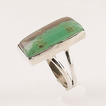 "Boulder Chryophrase ""Thin Mint"" Sterling Silver Ring"