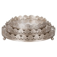 3-Piece Round Metal Decorative Tray Set (Champagne)