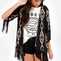 Somewhere My Love Black Southwest Print Kimono Top