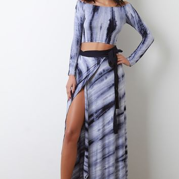 Tie-Dye Bardot Crop Top With Slit Maxi Skirt Set