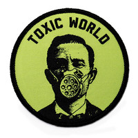 Toxic world patch. Woven iron on patch.