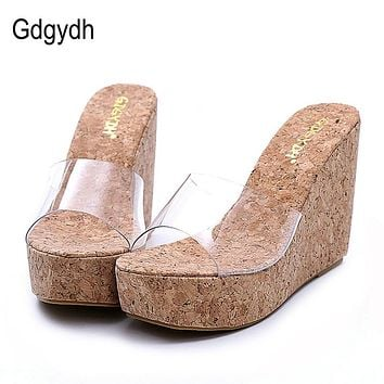 Gdgydh 2018 New Summer Transparent Platform Wedges Sandals Women Fashion High Heels Female Summer Shoes Size 34-40 Drop Shipping