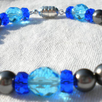 Unnamed Crew Mom 2 Grey Cobalt and Light Turquoise Bracelet