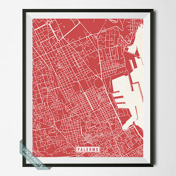 Palermo Print, Italy Poster, Palermo Poster, Palermo Map, Italy Print, Street Map, Italy Map, Home Decor, Map Print, Wall Art