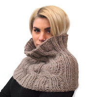 Beige knit cowl,Cable Knit Scarf,Hand Knit Chunky Cowl ,Neck Scarf Winter Accessories