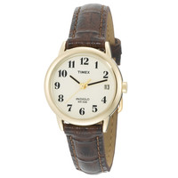 Timex T20071 Men's Easy Reader White Dial Brown Leather Strap Gold Tone Stainless Steel Watch