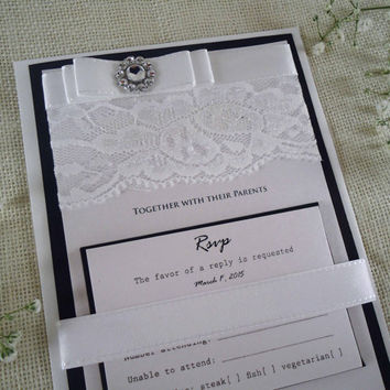 Black Wedding Invitation Black and White Wedding Invitation Lace Wedding Invitation Black Rustic Wedding Invitation