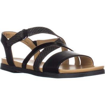 naturalizer Kandy Flat Strappy Sandals, Black, 5 US
