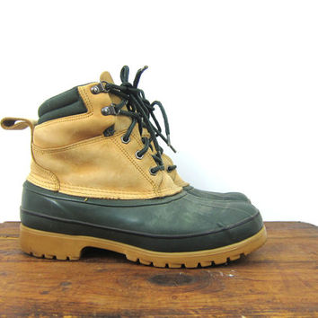 Vintage Land's End waterproof rubber and leather duck boots tall garden rain boots thinsolite winter ankle boots Men's Size 9 M