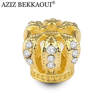 Luxury crystal gold crown beads fit european pandora charms bracelet full rhinestone queen crown charm loose beads women jewelry