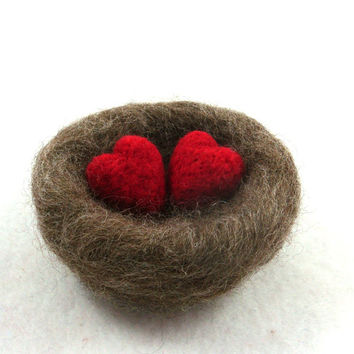 Love Nest Needle Felted Natural Brown Wool with Red Hearts Wedding Decor or Romantic Gift