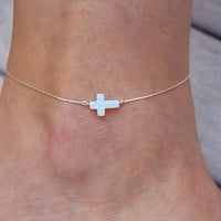 Opal Anklet / White Cross Anklet Foot Bracelet / Charm Anklet / Silver Anklet / Gold Anklet / Layering Anklets / Opal Jewelry / Body Jewelry