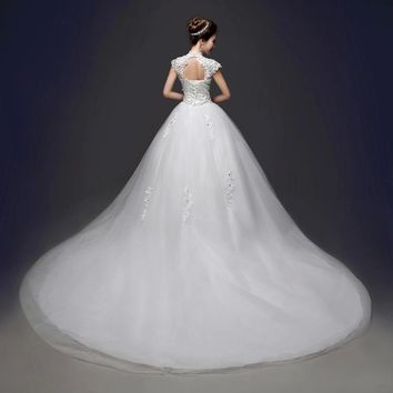 Luxury Cut-out High Neck Wedding Dresses Lace Cap Sleeve Bridal Gowns
