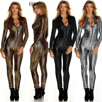 2016 Stage Outfit Faux Leather Snake Print Bodysuits Sexy Night Club Rompers Women Jumpsuits Full Sleeve Full Length Playsuits