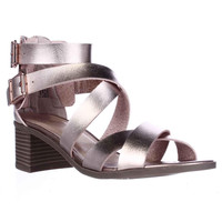 M.G. Danee Block Heel Strappy Sandals - Rose Gold