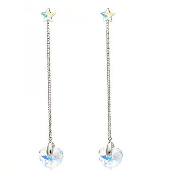7e71a0909 Rhodium Plated Long Earring, Heart and Star Design, with Swarovs