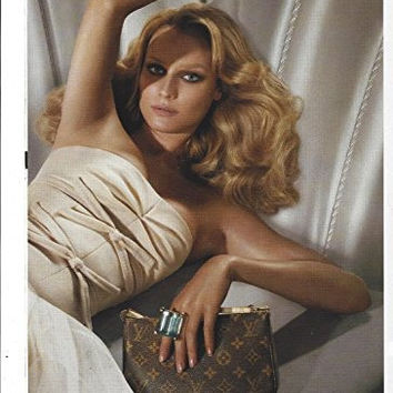 MAGAZINE AD With Diane Kruger For LV Brown Monogram Clutch Handbags