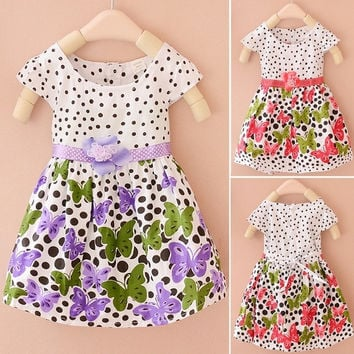 Kids Girls Toddlers Princess Birthday Party Flower Solid Polka Dot Dress Sz1-5Y D_L = 1713110020