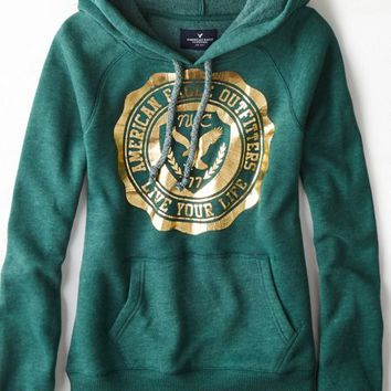 AEO 's Signature Graphic Hoodie (Nightfall Green)
