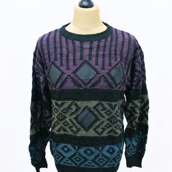 Vintage 1990s LEATHER PATCH Sweater Jumper Large Crazy Print  Pattern