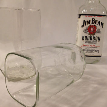 Jim Beam Drinking Glasses - Repurposed bottle - Recycled Liquor Bottle - Tumblers - Drinkware - Set of 2 - Square Glasses - Liquor Glass