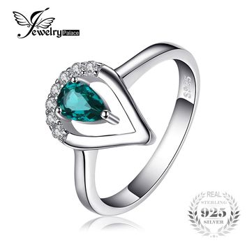 JewelryPalace Fashion 0.45ct Nano Russian Simulated Emerald Ring 925 Sterling Silver Engagement Wedding Band 2017 New Gift Women