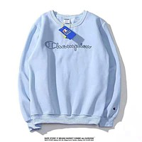 Champion Autumn And Winter New Fashion Bust Embroidery Letter Women Men Thick Keep Warm Long Sleeve Top Sweater Blue