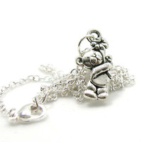 Teddy Bear Necklace, Charm Necklace, Charm Jewelry, Antique Silver Teddy Bear Necklace, Silver Bear Jewelry, Jewelry Gift, Gift Under 20