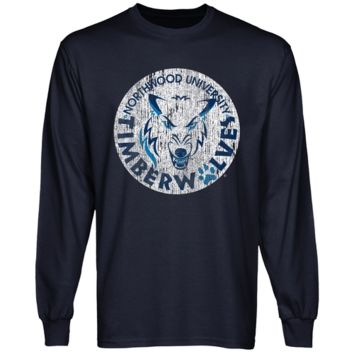 Northwood University of Michigan Timberwolves Distressed Primary Long Sleeve T-Shirt - Navy Blue