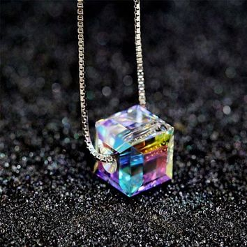Colorful Cube Square Crystal Pendant Silver Necklace