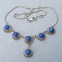 Pretty 1980's Vintage Sterling Silver Balinese Lapis Lazuli Necklace