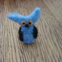 Blue Owl Ring Needle Felted Owl Adjustable Ring Hand Dyed Owl Cuties