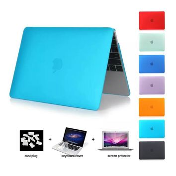 4in1 Matte Case For Apple macbook Pro 13 15 Air 11.6 13.3 12 retina laptop Potective case+ screen +keyboard cover + dust