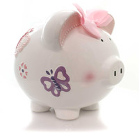 Bank BUTTERFLY PIGGY Ceramic Heart Flower 36819