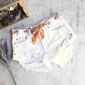 free people - sashed & relaxed distressed denim short - worn white