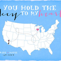 Long Distance Relationships, Custom Map with Key and Heart - 8x10 Personalized Art Map Print, Wedding Gift, Unique, You Hold the Key to my
