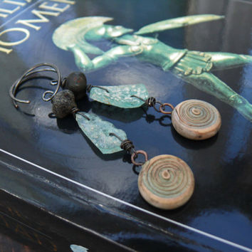 The Iliad - OOAK ancient greek inspired roman glass polymer clay and czech glass earrings.