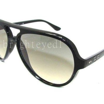 Kalete Authentic RAY-BAN Cats 5000 Black Sunglasses RB 4125 - 601/32 *NEW*