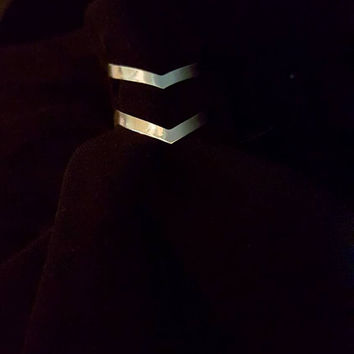 Silver Double Chevron Ring, Adjustable Statement Ring