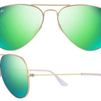 MDIGONT Ray Ban Aviator RB3025 112/19 Sunglasses in Matte Gold with Green Mirror Lens