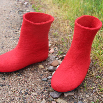 Womens Felted Boots - Red Rubber Soles - Winter Boots - Snow Boots -Valenki - Handmade Boots - Handmade Boots - Gifts - Winter Australia