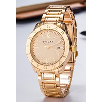 """Bvlgari"" Hot Sale Popular Woman Men Quartz Movement Wristwatch Watch Golden"