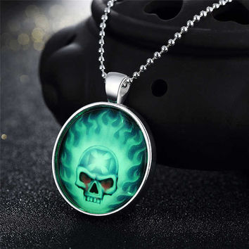 Gift Jewelry New Arrival Shiny Stylish Accessory Skull Terrible Noctilucent Necklace [8065789633]