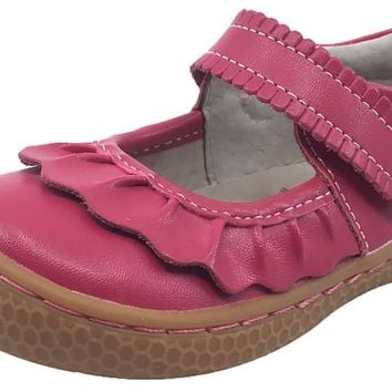 Livie & Luca Girl's Ruche Ruffled Hot Pink Smooth Leather Mary Jane with Hook and Loop Strap Flat Shoe
