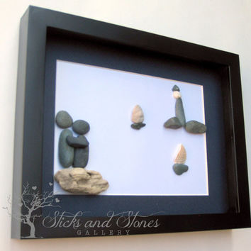 Pebble Art For Them- Beach Stone Couple's Gift- Unique Stone Gift- Coastal Home Decor- Personalized Couple's Gift - SticksnStone Pebble Art