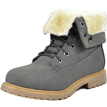 DREAM PAIRS Womens Winter Faux Fur Lined Collar Rubber Outsole Snow Ankle Boots Bootie